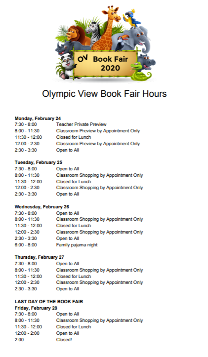 Book Fair hours